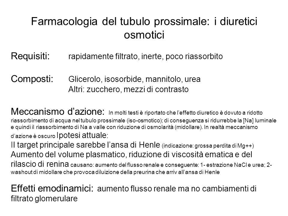 Farmacologia del tubulo prossimale: i diuretici osmotici Requisiti: rapidamente filtrato, inerte, poco riassorbito Composti: Glicerolo, isosorbide, ma