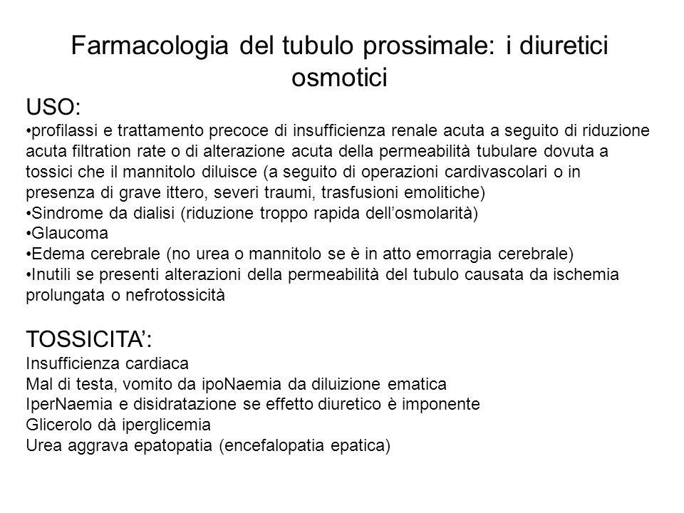 Farmacologia del tubulo prossimale: i diuretici osmotici USO: profilassi e trattamento precoce di insufficienza renale acuta a seguito di riduzione ac