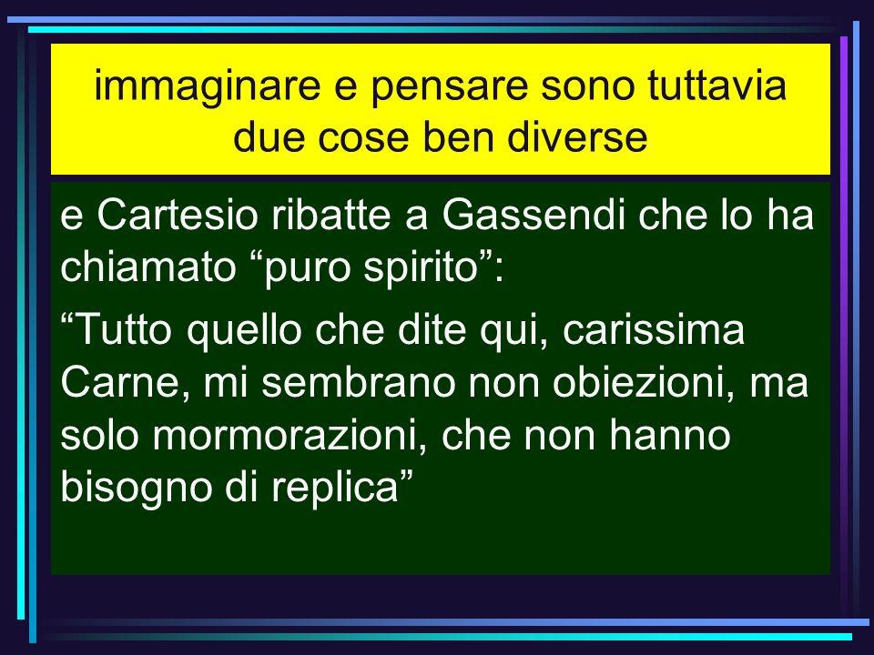 immaginare e pensare sono tuttavia due cose ben diverse e Cartesio ribatte a Gassendi che lo ha chiamato puro spirito: Tutto quello che dite qui, cari