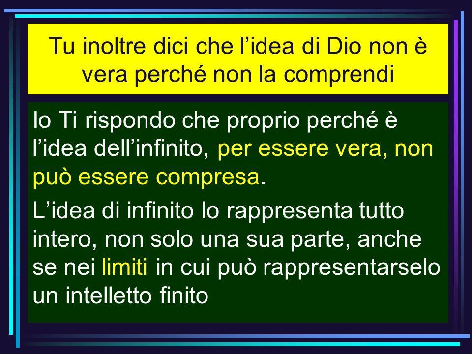 Tu inoltre dici che lidea di Dio non è vera perché non la comprendi Io Ti rispondo che proprio perché è lidea dellinfinito, per essere vera, non può e