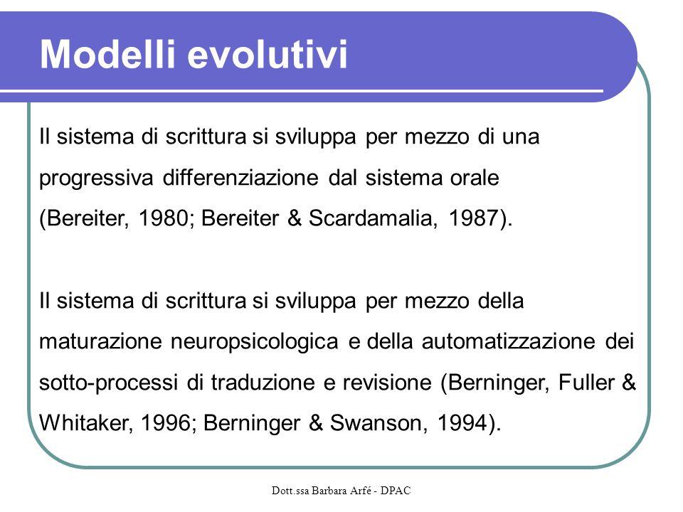 Modelli evolutivi Il sistema di scrittura si sviluppa per mezzo di una progressiva differenziazione dal sistema orale (Bereiter, 1980; Bereiter & Scar
