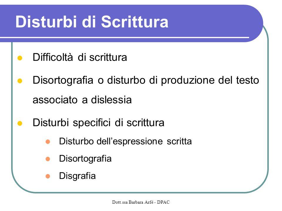 Disturbi di Scrittura Difficoltà di scrittura Disortografia o disturbo di produzione del testo associato a dislessia Disturbi specifici di scrittura D