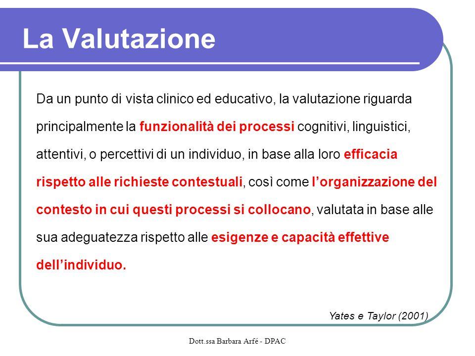 La Valutazione Da un punto di vista clinico ed educativo, la valutazione riguarda principalmente la funzionalità dei processi cognitivi, linguistici,