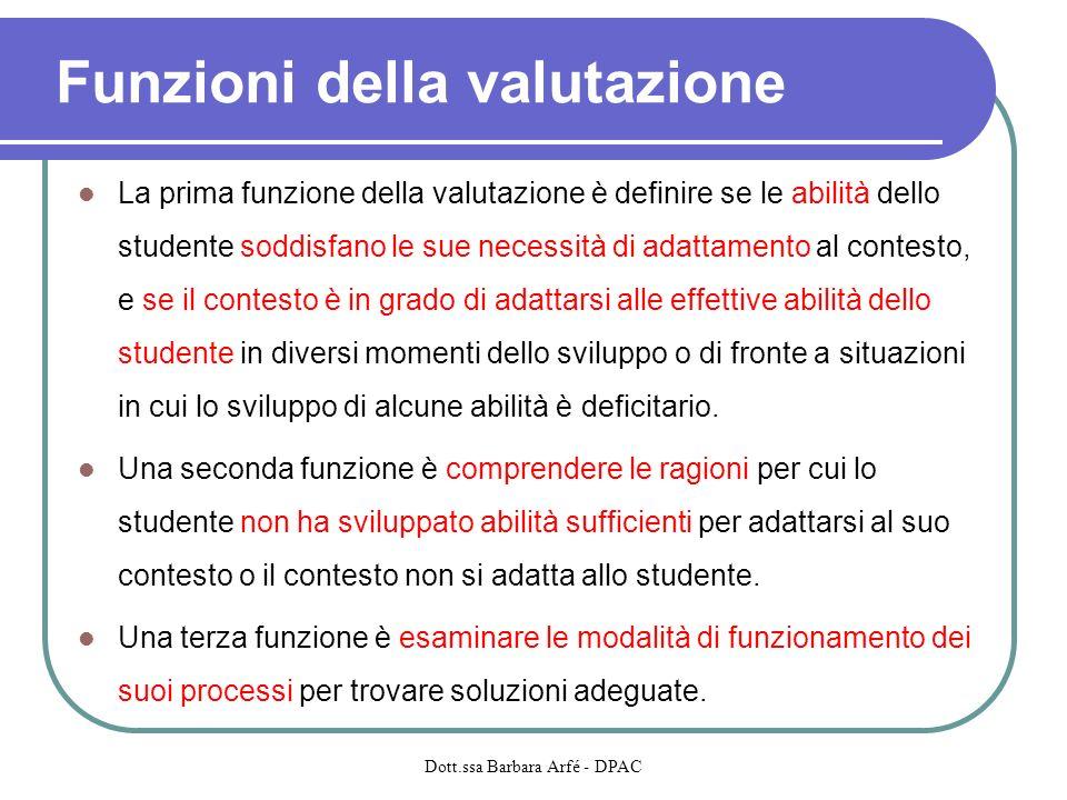 Funzioni della valutazione La prima funzione della valutazione è definire se le abilità dello studente soddisfano le sue necessità di adattamento al c