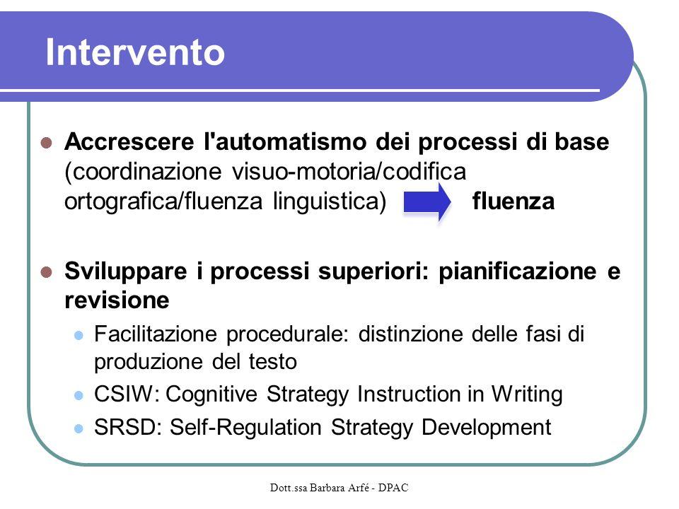 Intervento Accrescere l'automatismo dei processi di base (coordinazione visuo-motoria/codifica ortografica/fluenza linguistica) fluenza Sviluppare i p
