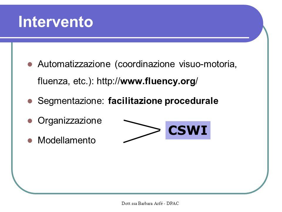 Automatizzazione (coordinazione visuo-motoria, fluenza, etc.): http://www.fluency.org/ Segmentazione: facilitazione procedurale Organizzazione Modella
