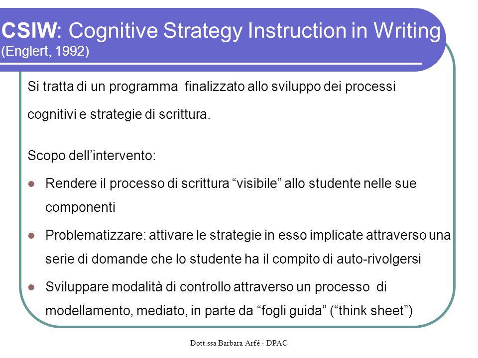 CSIW: Cognitive Strategy Instruction in Writing (Englert, 1992) Si tratta di un programma finalizzato allo sviluppo dei processi cognitivi e strategie