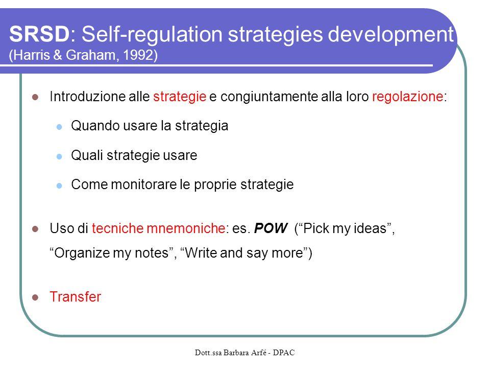 SRSD: Self-regulation strategies development (Harris & Graham, 1992) Introduzione alle strategie e congiuntamente alla loro regolazione: Quando usare