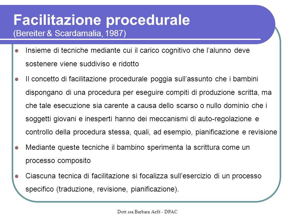 Facilitazione procedurale (Bereiter & Scardamalia, 1987) Insieme di tecniche mediante cui il carico cognitivo che lalunno deve sostenere viene suddivi