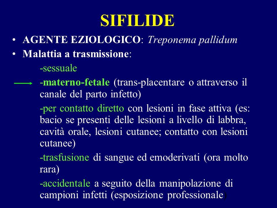 Sifilide congenita La trasmissione materno-fetale può avvenire in qualsiasi fase della malattia la madre si trovi, purchè non trattata o inadeguatamente trattata.