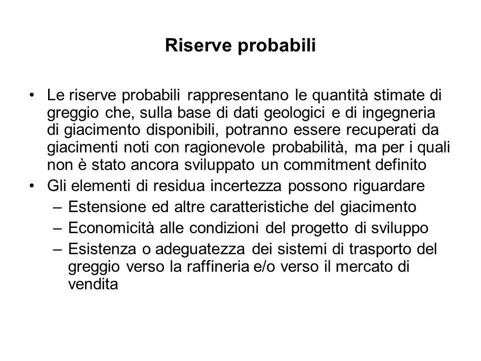 Riserve probabili Le riserve probabili rappresentano le quantità stimate di greggio che, sulla base di dati geologici e di ingegneria di giacimento di