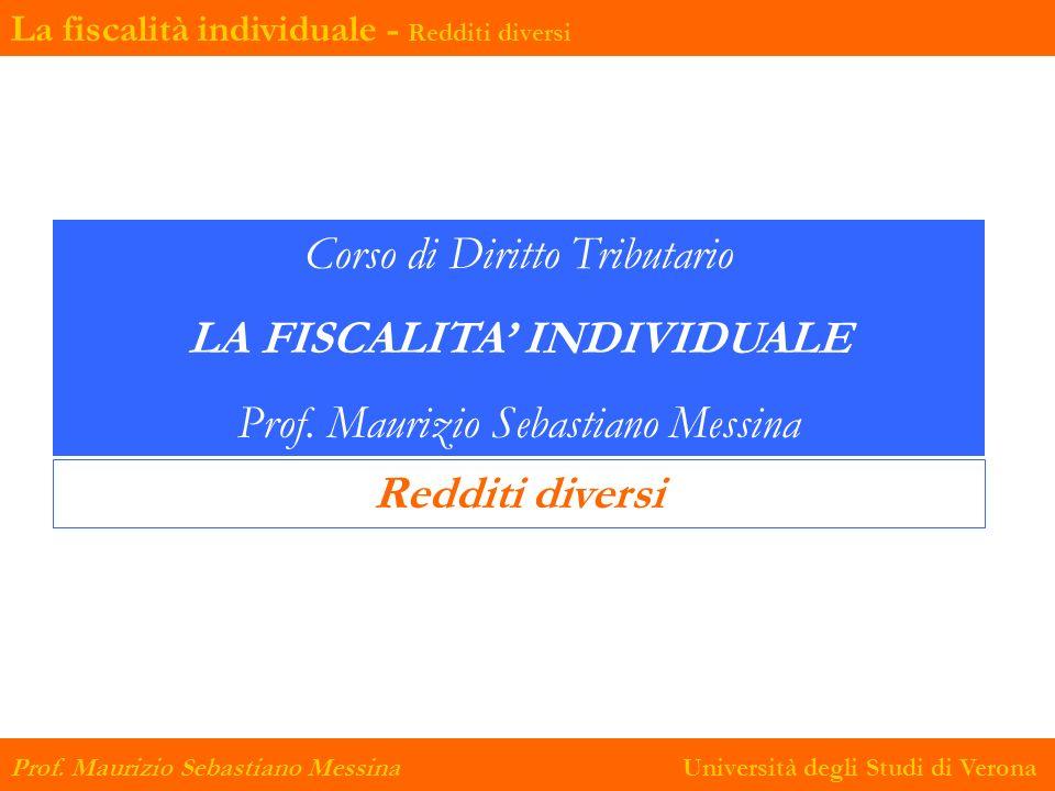 La fiscalità individuale - Redditi diversi Prof.