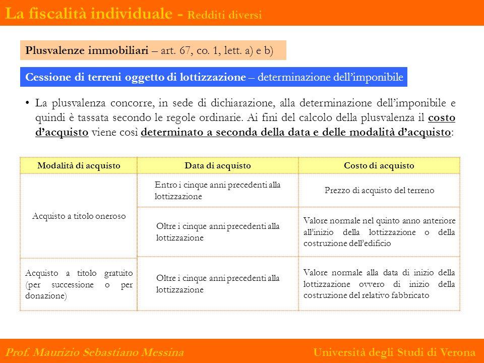 Prof.Maurizio Sebastiano Messina Università degli Studi di Verona Plusvalenze immobiliari – art.