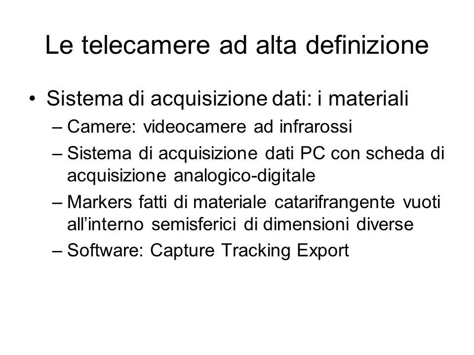 Le telecamere ad alta definizione Sistema di acquisizione dati: i materiali –Camere: videocamere ad infrarossi –Sistema di acquisizione dati PC con sc