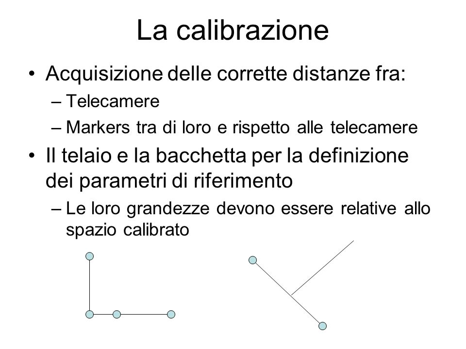 La calibrazione Acquisizione delle corrette distanze fra: –Telecamere –Markers tra di loro e rispetto alle telecamere Il telaio e la bacchetta per la