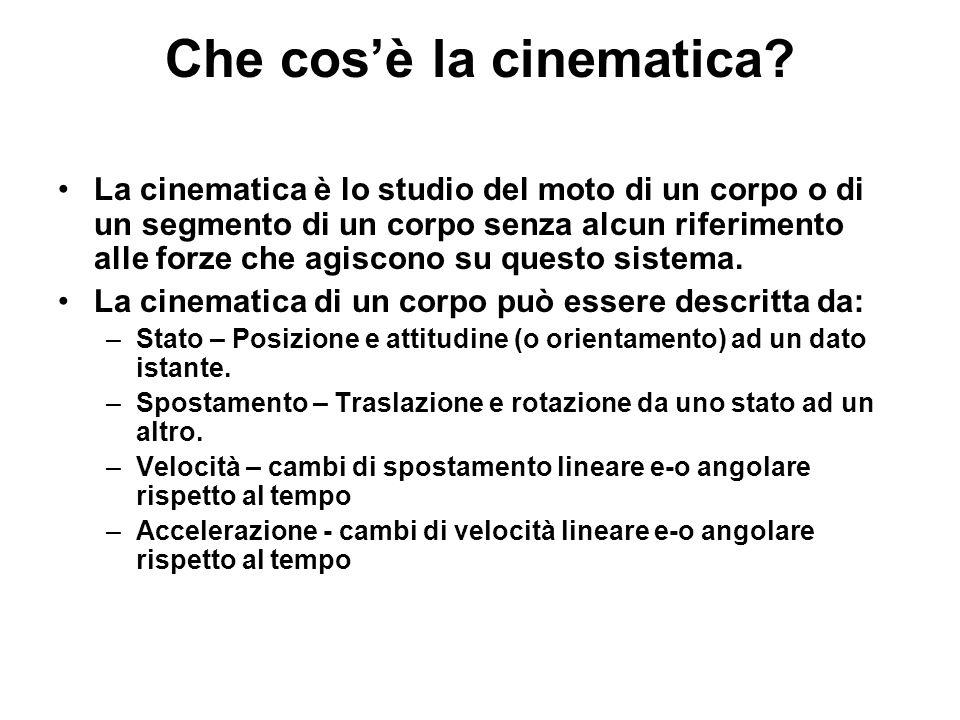 Che cosè la cinematica? La cinematica è lo studio del moto di un corpo o di un segmento di un corpo senza alcun riferimento alle forze che agiscono su