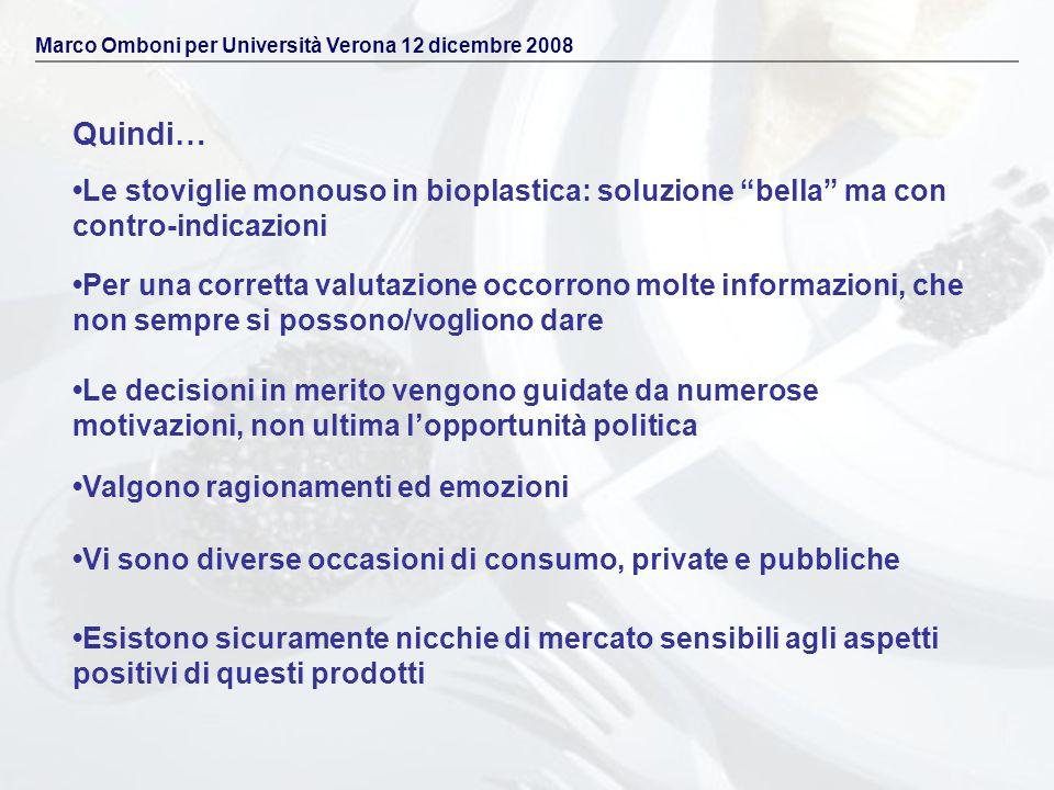 Quindi… Marco Omboni per Università Verona 12 dicembre 2008 Le stoviglie monouso in bioplastica: soluzione bella ma con contro-indicazioni Per una cor