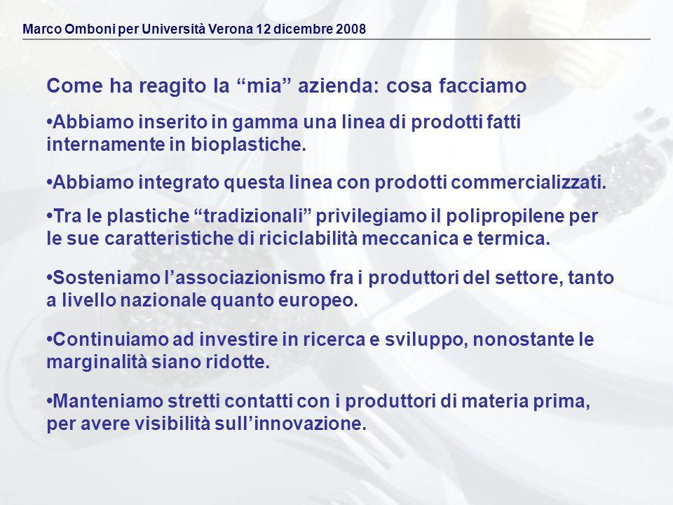 Come ha reagito la mia azienda: cosa facciamo Marco Omboni per Università Verona 12 dicembre 2008 Abbiamo inserito in gamma una linea di prodotti fatt