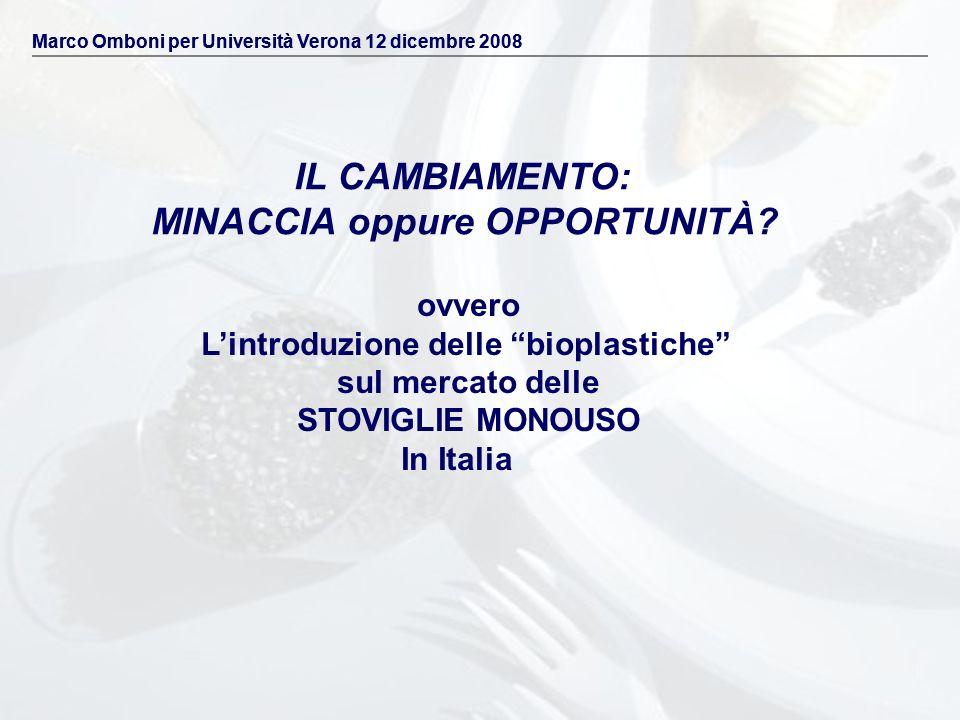 IL CAMBIAMENTO: MINACCIA oppure OPPORTUNITÀ? ovvero Lintroduzione delle bioplastiche sul mercato delle STOVIGLIE MONOUSO In Italia Marco Omboni per Un