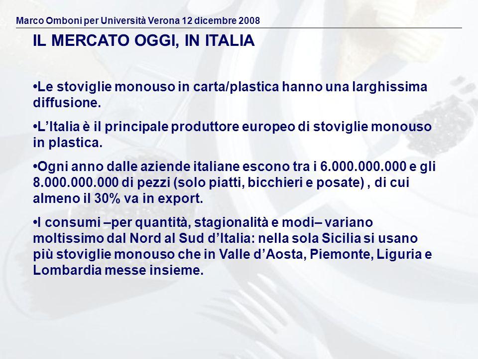 Le stoviglie monouso in carta/plastica hanno una larghissima diffusione. LItalia è il principale produttore europeo di stoviglie monouso in plastica.
