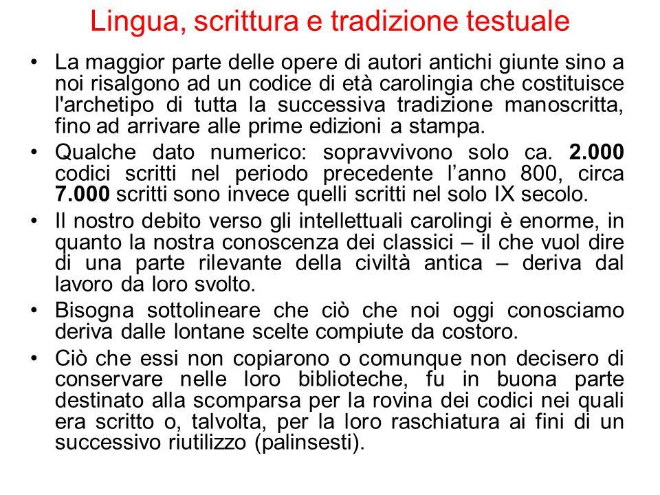 La maggior parte delle opere di autori antichi giunte sino a noi risalgono ad un codice di età carolingia che costituisce l'archetipo di tutta la succ