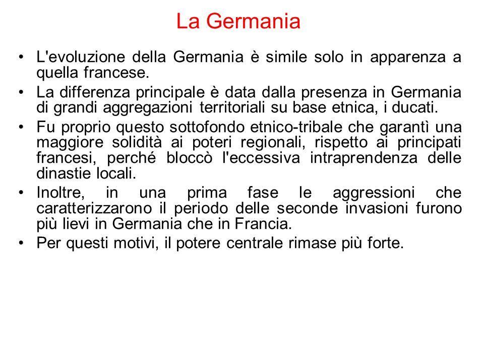 La Germania L'evoluzione della Germania è simile solo in apparenza a quella francese. La differenza principale è data dalla presenza in Germania di gr