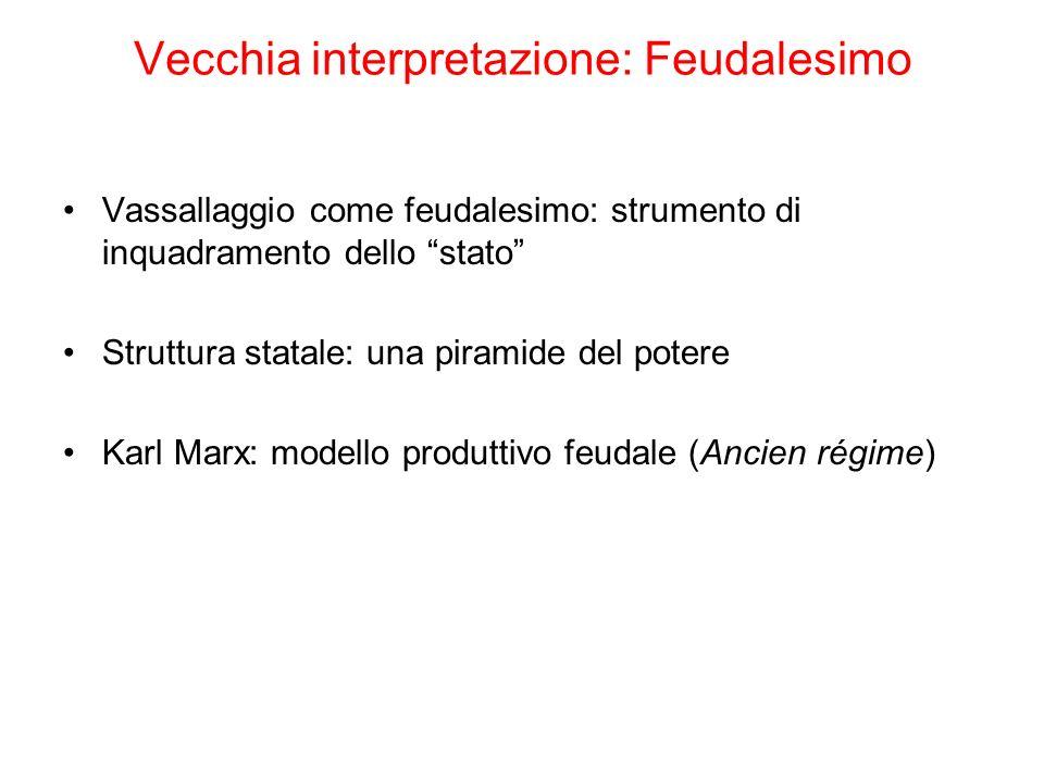 Vecchia interpretazione: Feudalesimo Vassallaggio come feudalesimo: strumento di inquadramento dello stato Struttura statale: una piramide del potere