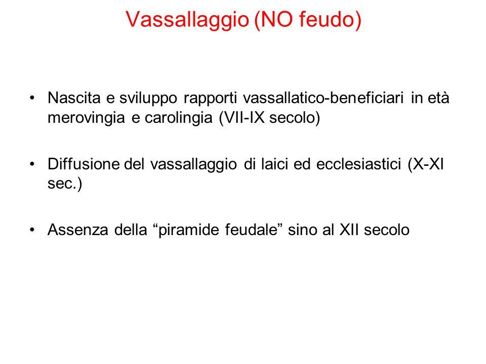 Vassallaggio (NO feudo) Nascita e sviluppo rapporti vassallatico-beneficiari in età merovingia e carolingia (VII-IX secolo) Diffusione del vassallaggi