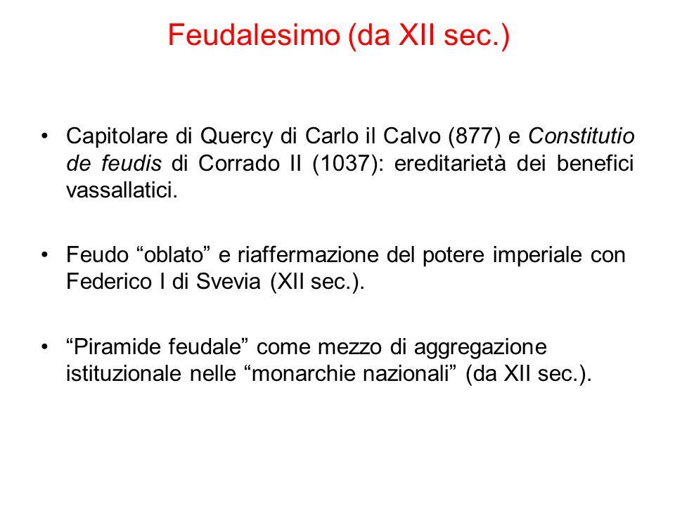 Feudalesimo (da XII sec.) Capitolare di Quercy di Carlo il Calvo (877) e Constitutio de feudis di Corrado II (1037): ereditarietà dei benefici vassall