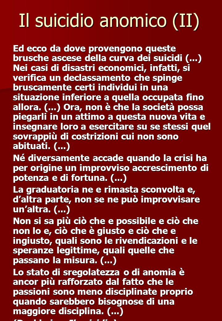 Il suicidio anomico (II) Ed ecco da dove provengono queste brusche ascese della curva dei suicidi (...) Nei casi di disastri economici, infatti, si ve
