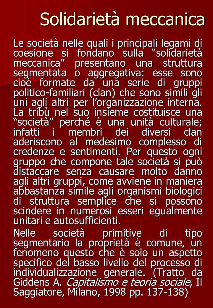 Solidarietà organica Dove la solidarietà meccanica è la base principale della coesione sociale, la coscienza collettiva ricopre esattamente la coscienza individuale, e quindi presuppone la somiglianza degli individui.