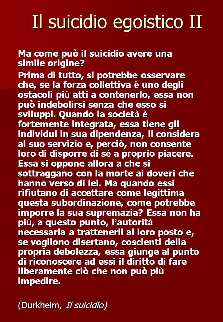 Il suicidio egoistico II Ma come può il suicidio avere una simile origine? Prima di tutto, si potrebbe osservare che, se la forza collettiva è uno deg