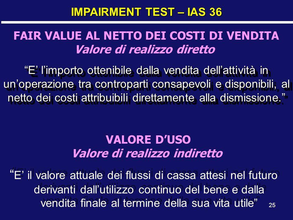 25 IMPAIRMENT TEST – IAS 36 FAIR VALUE AL NETTO DEI COSTI DI VENDITA Valore di realizzo diretto E limporto ottenibile dalla vendita dellattività in un