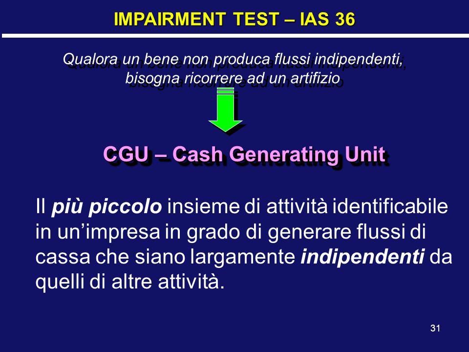 31 IMPAIRMENT TEST – IAS 36 Il più piccolo insieme di attività identificabile in unimpresa in grado di generare flussi di cassa che siano largamente indipendenti da quelli di altre attività.