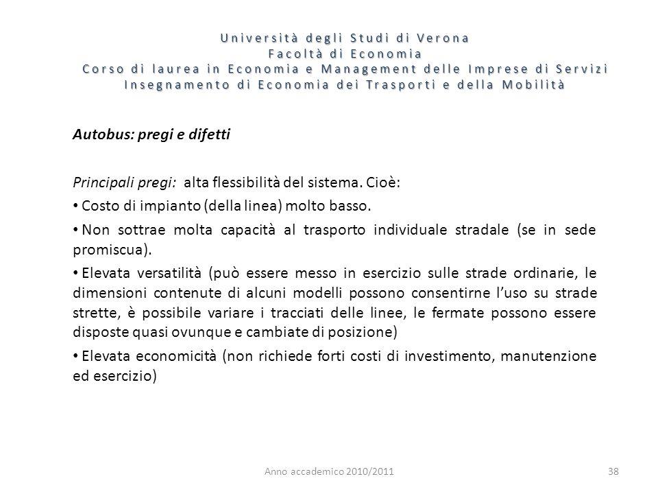 38 Università degli Studi di Verona Facoltà di Economia Corso di laurea in Economia e Management delle Imprese di Servizi Insegnamento di Economia dei