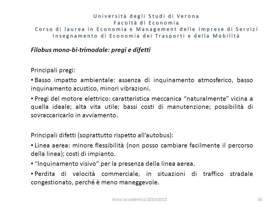 45 Università degli Studi di Verona Facoltà di Economia Corso di laurea in Economia e Management delle Imprese di Servizi Insegnamento di Economia dei