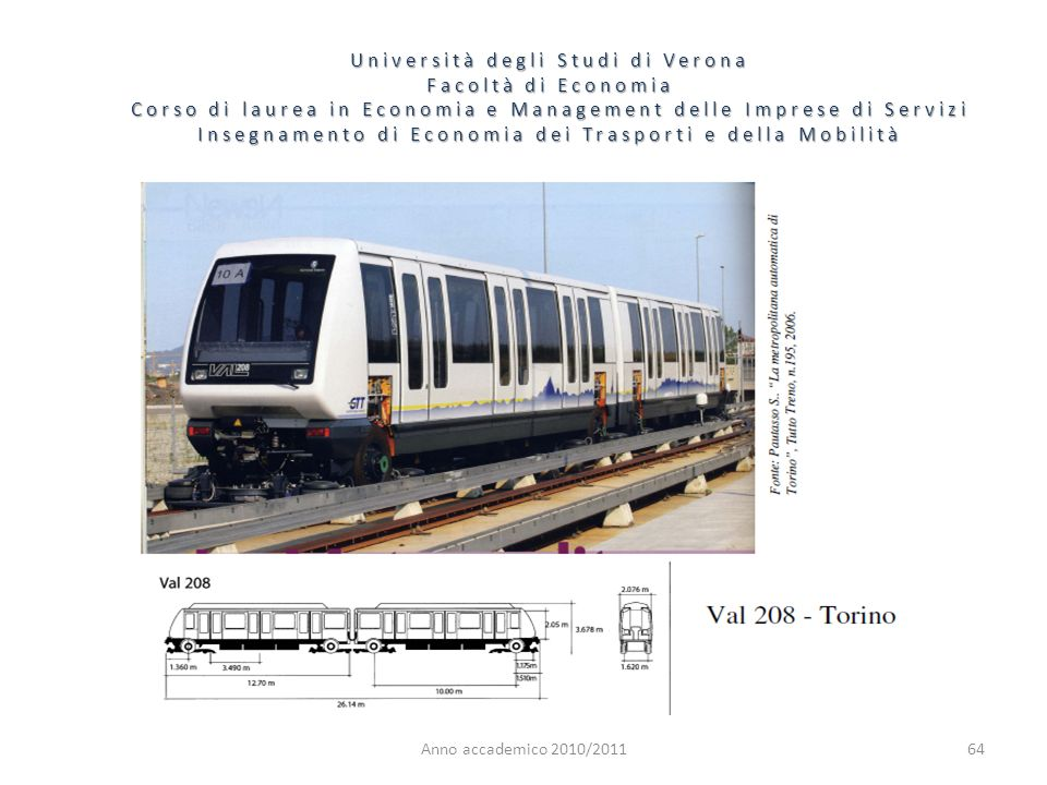 64 Università degli Studi di Verona Facoltà di Economia Corso di laurea in Economia e Management delle Imprese di Servizi Insegnamento di Economia dei
