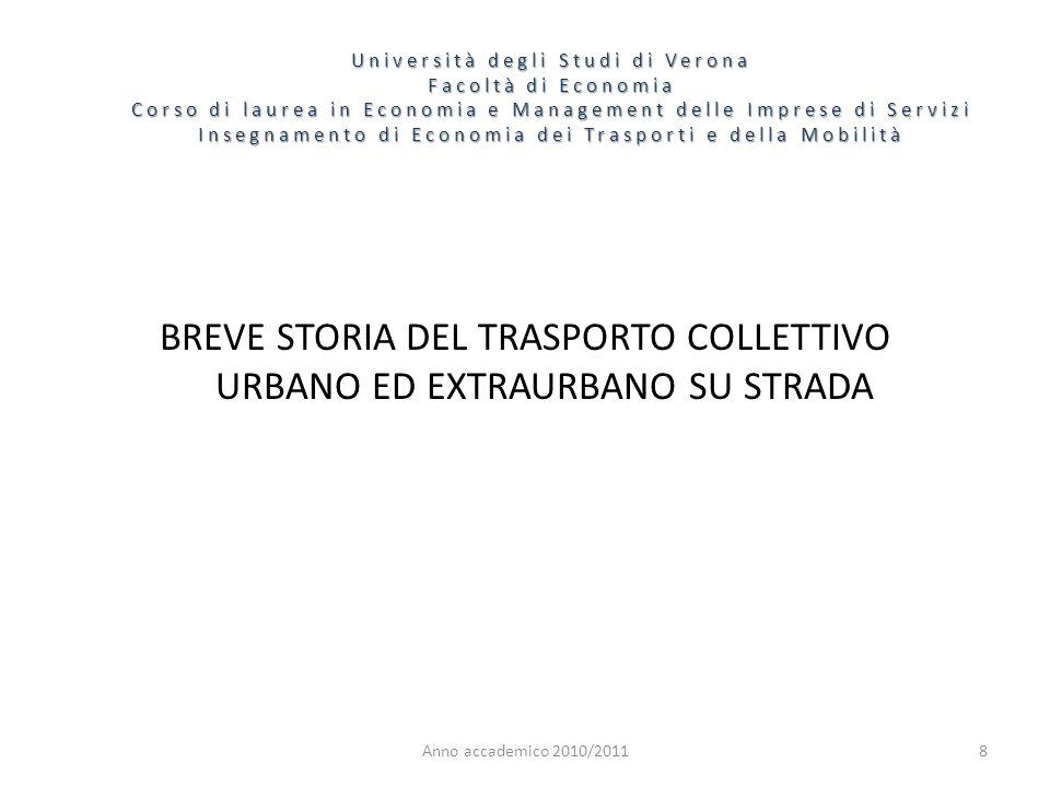 8 Università degli Studi di Verona Facoltà di Economia Corso di laurea in Economia e Management delle Imprese di Servizi Insegnamento di Economia dei