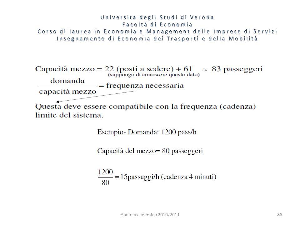86 Università degli Studi di Verona Facoltà di Economia Corso di laurea in Economia e Management delle Imprese di Servizi Insegnamento di Economia dei
