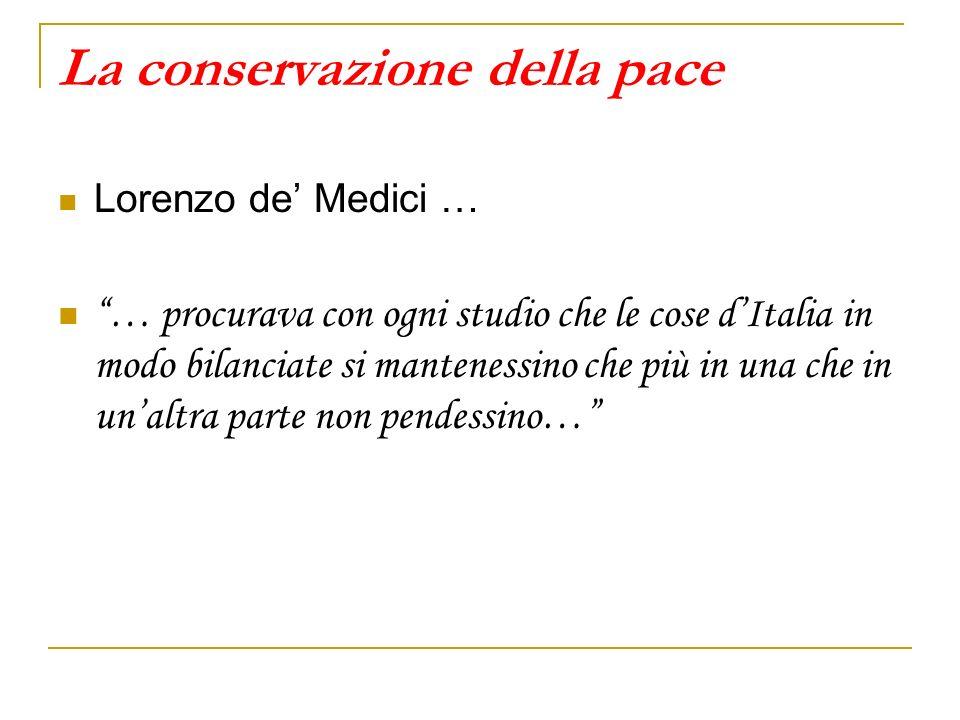 La conservazione della pace Lorenzo de Medici … … procurava con ogni studio che le cose dItalia in modo bilanciate si mantenessino che più in una che