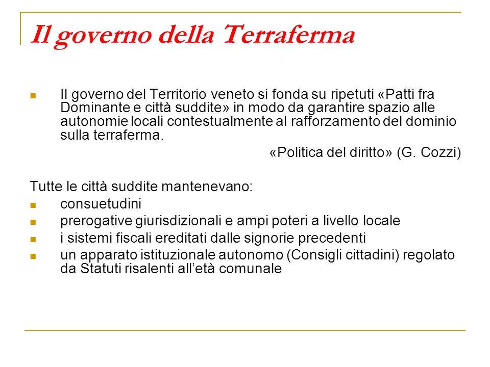 Il governo della Terraferma Il governo del Territorio veneto si fonda su ripetuti «Patti fra Dominante e città suddite» in modo da garantire spazio al