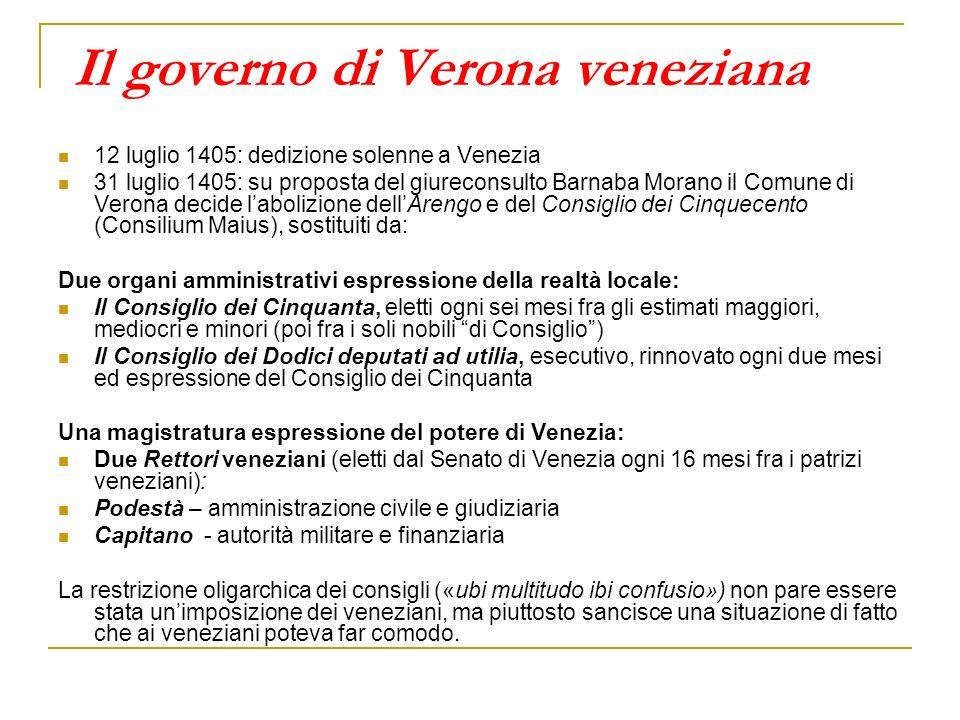 Il governo di Verona veneziana 12 luglio 1405: dedizione solenne a Venezia 31 luglio 1405: su proposta del giureconsulto Barnaba Morano il Comune di V
