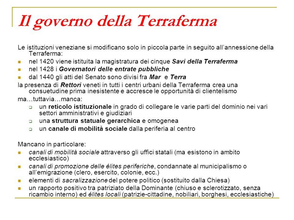 Il governo della Terraferma Le istituzioni veneziane si modificano solo in piccola parte in seguito allannessione della Terraferma: nel 1420 viene ist