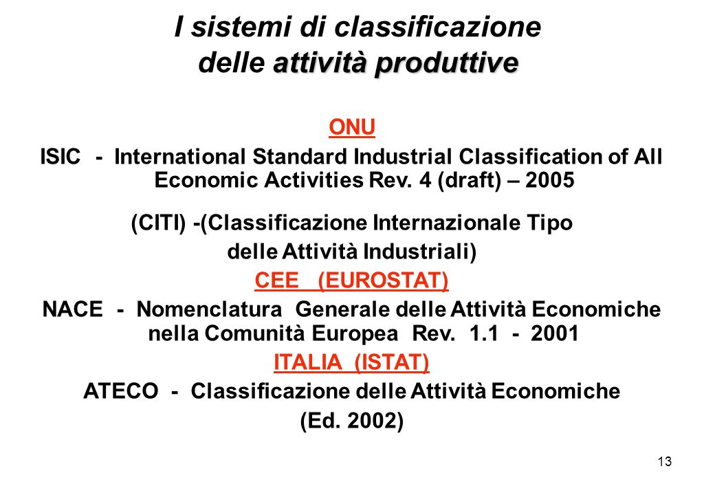 13 ONU ISIC - International Standard Industrial Classification of All Economic Activities Rev. 4 (draft) – 2005 (CITI) -(Classificazione Internazional