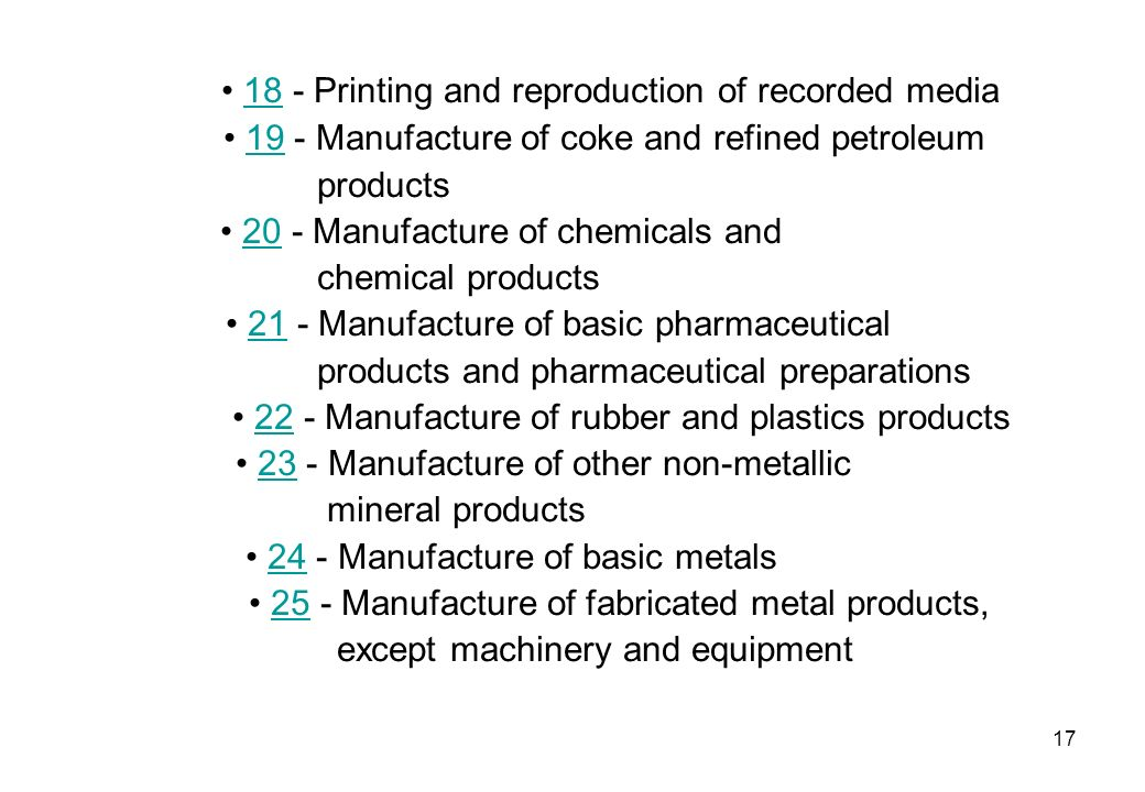 18 - Printing and reproduction of recorded media18 19 - Manufacture of coke and refined petroleum19 products 20 - Manufacture of chemicals and20 chemi
