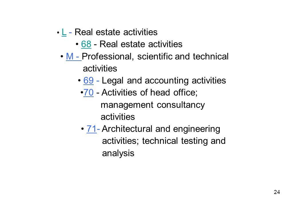 24 L - Real estate activities L 68 - Real estate activities68 M - Professional, scientific and technical activities 69 - Legal and accounting activiti
