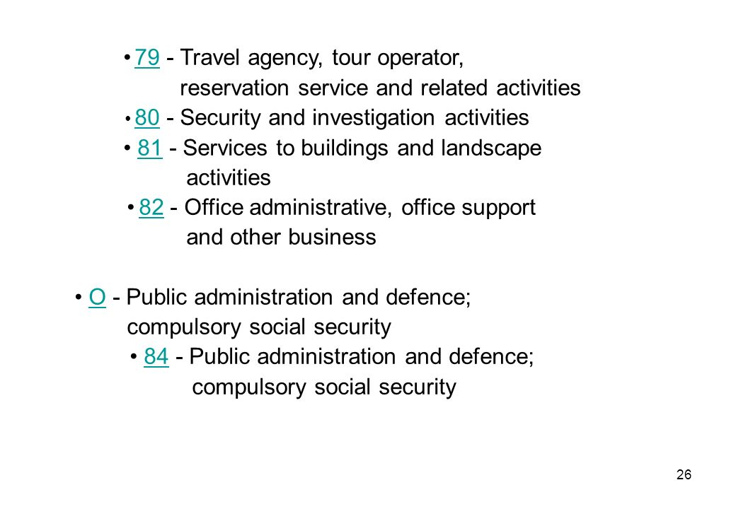 26 79 - Travel agency, tour operator, 79 reservation service and related activities 80 - Security and investigation activities 80 81 - Services to bui