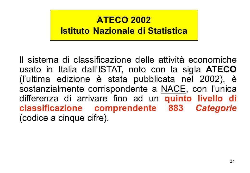 34 Il sistema di classificazione delle attività economiche usato in Italia dallISTAT, noto con la sigla ATECO (lultima edizione è stata pubblicata nel