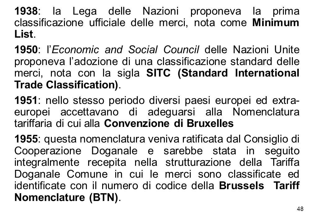 48 1938: la Lega delle Nazioni proponeva la prima classificazione ufficiale delle merci, nota come Minimum List. 1950: lEconomic and Social Council de
