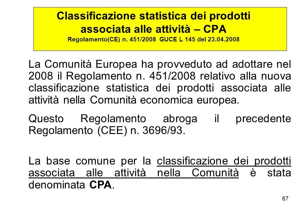 67 La Comunità Europea ha provveduto ad adottare nel 2008 il Regolamento n. 451/2008 relativo alla nuova classificazione statistica dei prodotti assoc